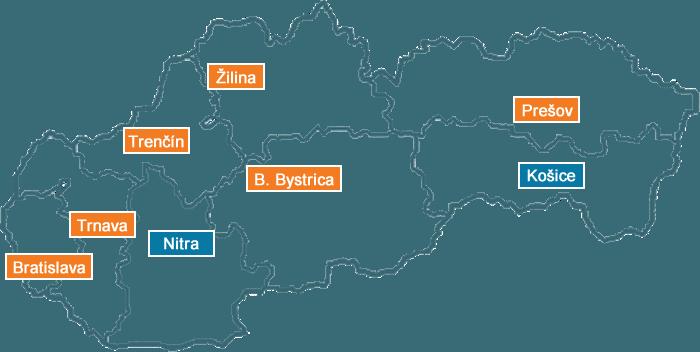 mapa sr s 8 pobockami Navratu